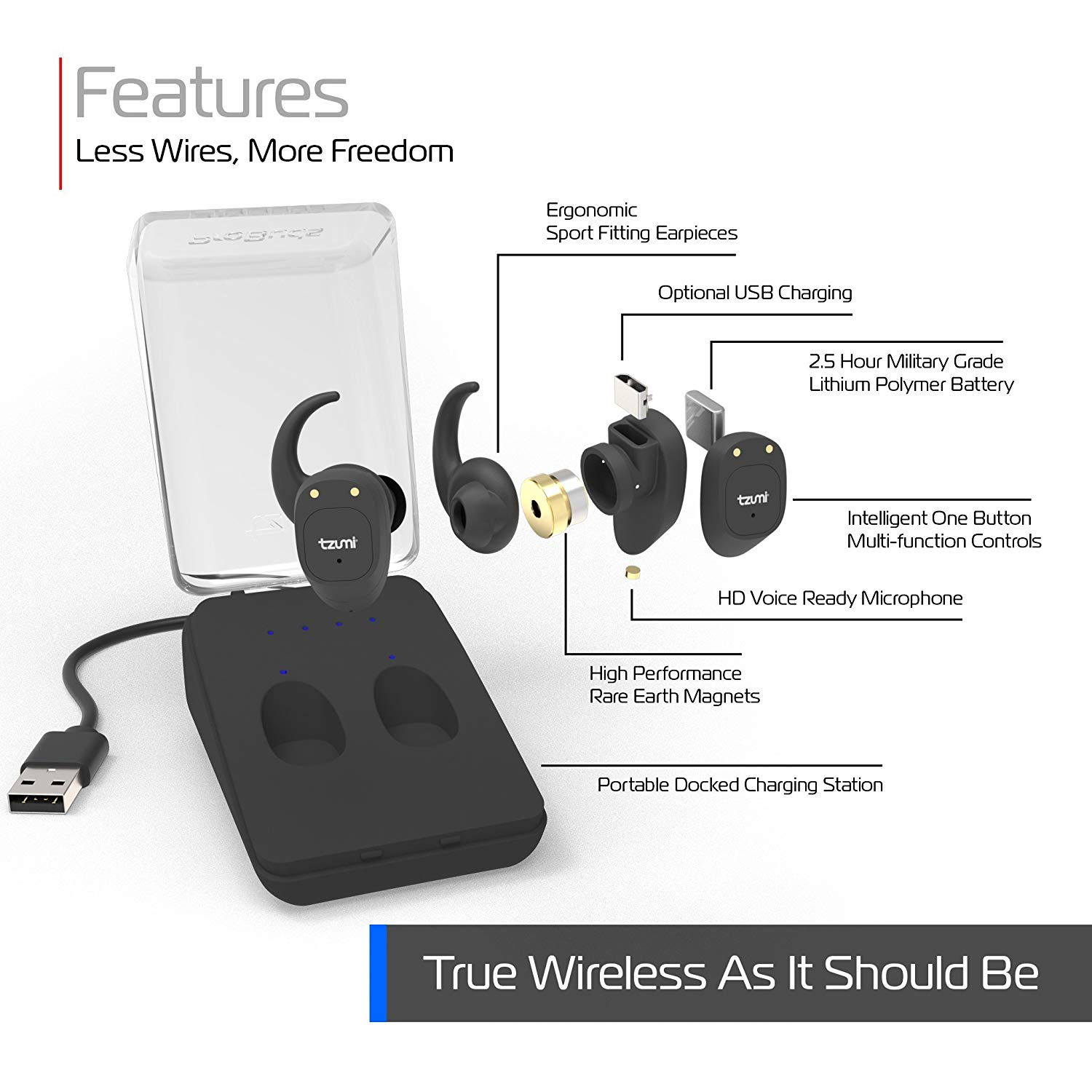 TZUMI Probuds Wireless Earbuds Rechargeable Bluetooth